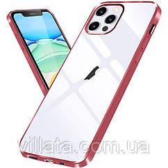 """Уценка Прозрачный силиконовый чехол с глянцевой окантовкой для Apple iPhone 12 Pro Max (6.7"""") Царапина / Rose Gold"""