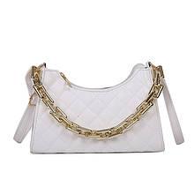 Женская классическая сумочка через плечо кросс-боди на ремешке с толстой цепочкой белая
