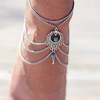 Серебряный браслет Украшение на ногу в стиле бохо №5