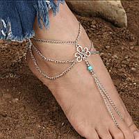 Серебряный браслет на ногу Анклета серебро №6