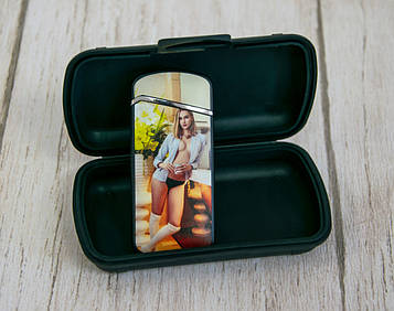 Електро-імпульсна USB запальничка ZGP 28 з принтом девкушки в сорочці без ліфчика, електрозапальничка   (SV)
