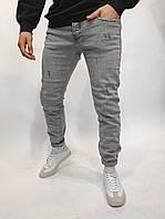 Молодежные мужские модные джинсы зауженные потертые серые | Штаны брюки узкачи повседневные качественные