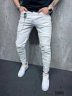 Молодежные мужские модные джинсы рваные зауженные белые | Штаны брюки узкачи повседневные качественные