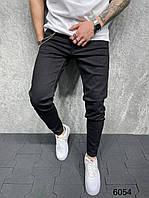 Модные мужские зауженные джинсы черные с цепью | Производство Турция