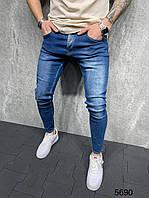 Модные мужские зауженные джинсы синие | Производство Турция