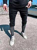 Крутые зауженные рваные мужские джинсы двухцветные черный с серым | Производство Турция