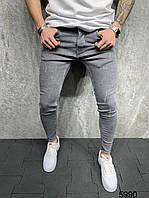 Качественные мужские джинсы зауженные потертые светло серые   Производство Турция