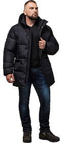 Зручна чоловіча куртка великого розміру зимова чорна модель 3284