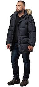 Класична чоловіча зимова куртка великого розміру графитовя модель 2084