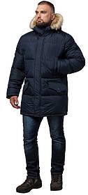 Стильна курточка великого розміру зимова чоловіча темно-синя модель 2084