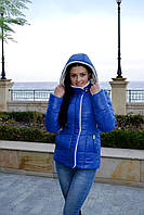 Женская приталенная куртка с меховой отделкой синяя 44