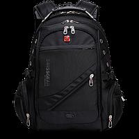 Рюкзак SwissGear 8810 с USB Черный удобный ортопедический для молодежи мужской женский подростковый