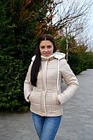 Женская приталенная куртка с меховой отделкой бежевая 48