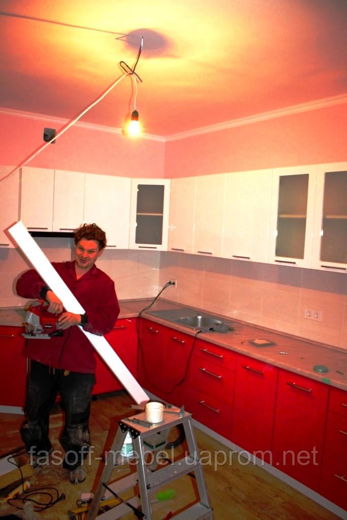 Розовая кухня на заказ МДФ крашеный глянец