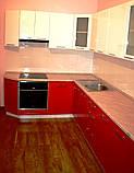 Розовая кухня на заказ МДФ крашеный глянец, фото 3