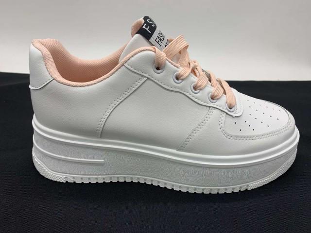 Кроссовки подростковые * HoNGQVAN 375-2 белый/розовый *95666