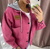 Женская джинсовая курточка со съемным капюшоном , женская стильная джинсовая куртка с капюшоном и карманами