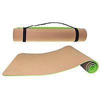 Коврик пробковый SportVida TPE + Cork 183х61х0,4 см для йоги и фитнеса (SV-HK0317)