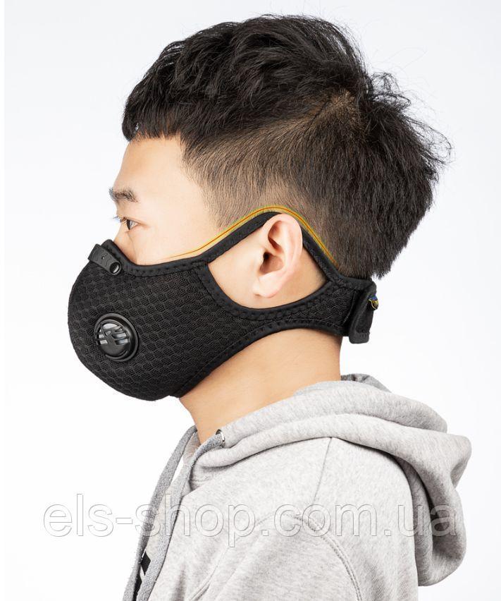 Респіратор | маска KN95 для тривалого носіння зі змінним вугільним фільтром від вірусів,гару,пилу (6060303)