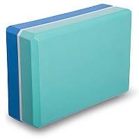 Блок для растяжки (йоги) двухцветный (23х15х7,5см) FI-1713 Мятно-синий