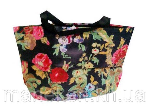 Женская хозяйственная сумка  из ткани (47/33/10)в цветах (20 шт), фото 2