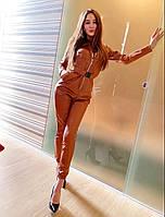 Женский кожаный комбинезон коричневый
