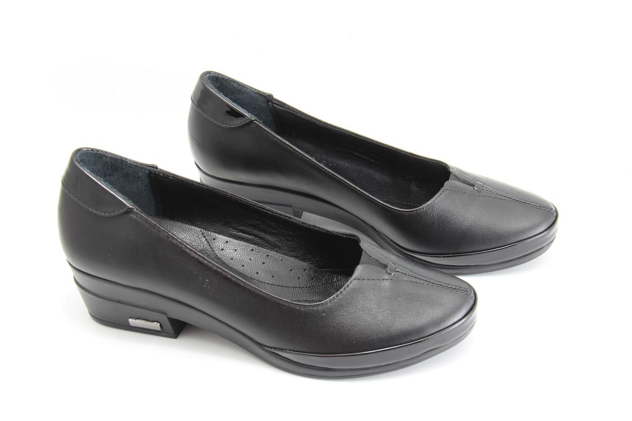 Туфли женские кожаные на каблуке GUERO P303-657-42-08-01(B)