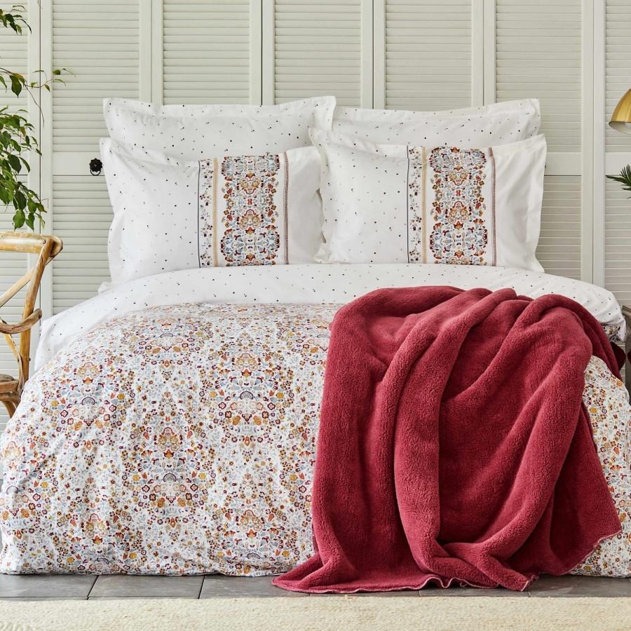 Набор постельное белье с пледом Karaca Home - Fiorela sarabi винный евро