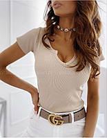 Женская стильная трикотажная футболка с ажурным вырезом, фото 1