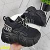 Кросівки на високій масивній платформі чорні, фото 2