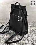 Шкіряна сумка рюкзак молодіжний чорного кольору, фото 2