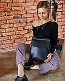 Шкіряна сумка рюкзак молодіжний чорного кольору, фото 3