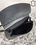 Шкіряна сумка рюкзак молодіжний чорного кольору, фото 5
