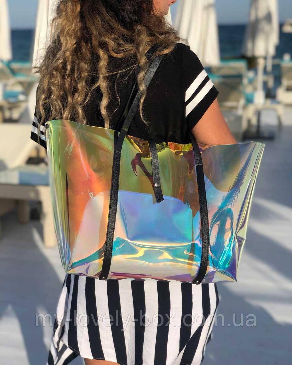 Пляжна сумка «2 в 1» перламутрова силіконова з чорним