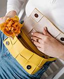 Женская сумка клатч на пояс «Энди» плетеная желтая, фото 3