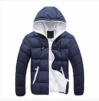 Мужская куртка с капюшоном  весна-осень синий р.52