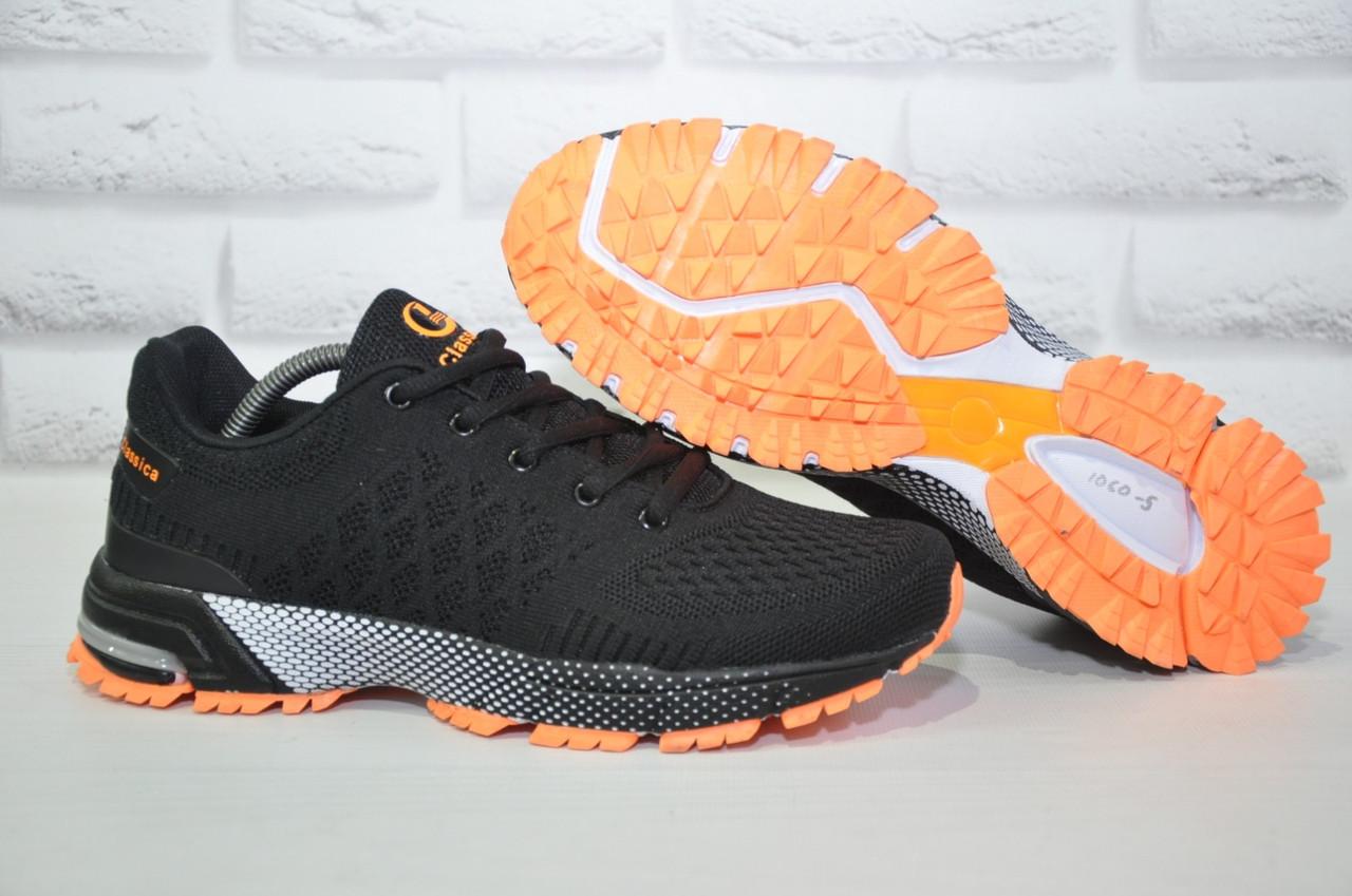 Чоловічі легкі літні кросівки чорні сітка Classica