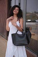 Черная женская сумка-шоппер A0001black трапеция с ручками и ремешком через плечо, фото 1