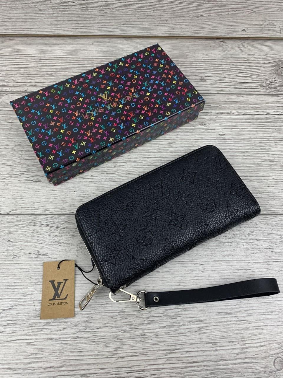 Чоловічий гаманець, клатч брендовий, зручний місткий гаманець чорний