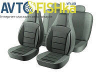 Чехлы на сиденья PILOT ВАЗ 2110 (кожзам + тканевая вставка) Темно Серый (Черные)