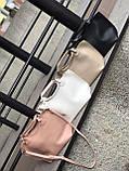 Бежева жіноча сумка шоппер A0001beige трапеція з ручками і ремінцем через плече, фото 3
