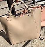 Бежева жіноча сумка шоппер A0001beige трапеція з ручками і ремінцем через плече, фото 8