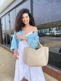 Бежева жіноча сумка шоппер A0001beige трапеція з ручками і ремінцем через плече, фото 6