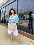 Бежева жіноча сумка шоппер A0001beige трапеція з ручками і ремінцем через плече, фото 5