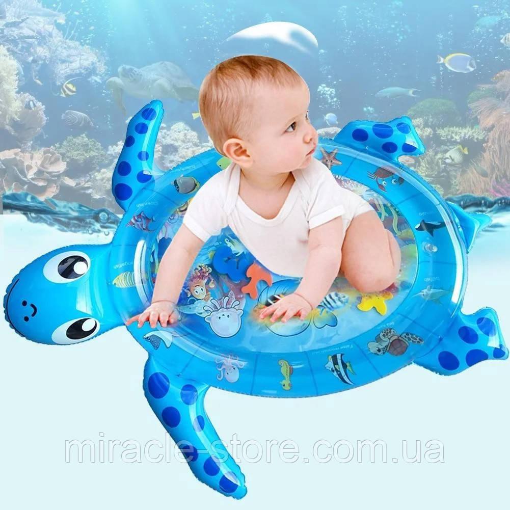 Надувний дитячий розвиваючий водний килимок Черепашка