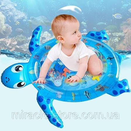 Надувний дитячий розвиваючий водний килимок Черепашка, фото 2