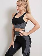 Спортивный женский костюм для фитнеса бега йоги. Спортивные лосины леггинсы топ для фитнеса, размер L (черный)