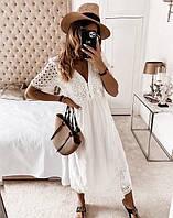 Женское  платье из прошвы  макси  размеры 42-46 ,46-50