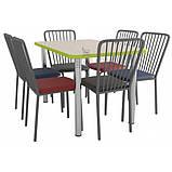 Комплект для столовой: стол ХРОМ и 6 стульев АРФО, фото 2
