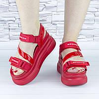 Босоножки женские красные спортивные стильные на платформе на липучках b-626